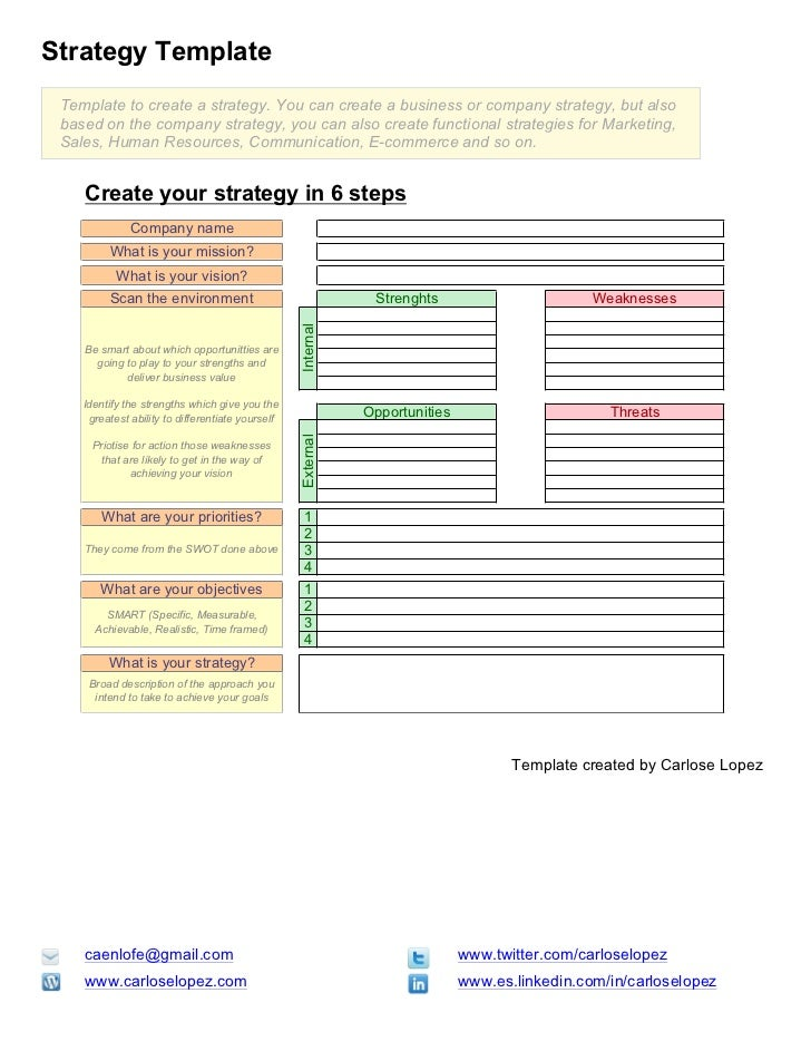 Strategy Template Template to create a strategy. You can create a business or company strategy, but also based on the comp...