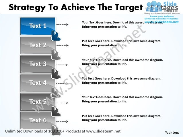 Strategy to achieve the target 6 stages service business plan power point slides Slide 2