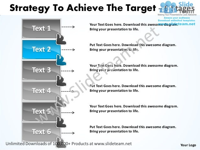 Strategy to achieve the target 6 stages service business plan power point slides Slide 3