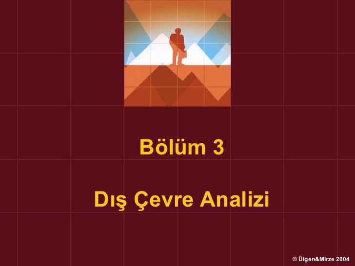 Bölüm 3Dış Çevre Analizi                    © Ülgen&Mirze 2004