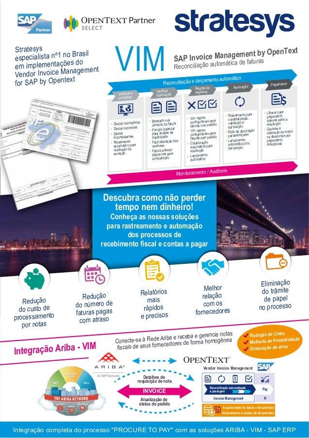 VIM Arquivamento de dados e documentos Arquivamento e acesso de documentos Invoice Management FI Reconciliação automatizad...