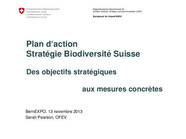 Eidgenössisches Departement für Umwelt, Verkehr, Energie und Kommunikation UVEK Bundesamt für Umwelt BAFU  Plan d'action S...