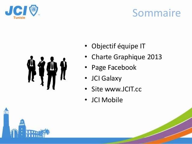 • Objectif équipe IT• Charte Graphique 2013• Page Facebook• JCI Galaxy• Site www.JCIT.cc• JCI MobileSommaire