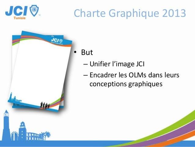 • But– Unifier l'image JCI– Encadrer les OLMs dans leursconceptions graphiquesCharte Graphique 2013