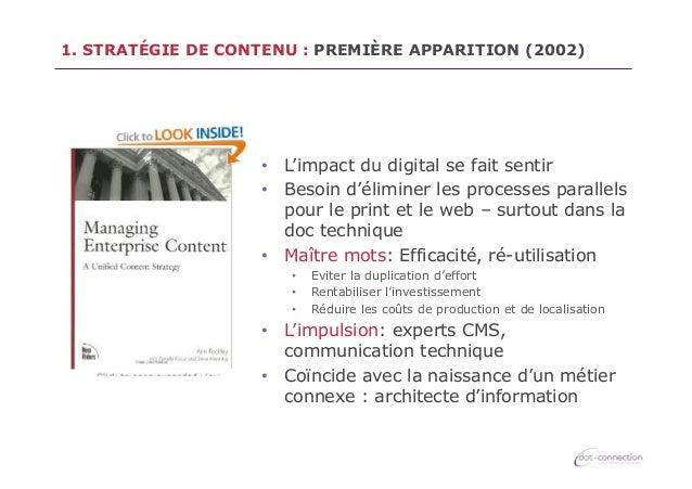 1. STRATÉGIE DE CONTENU : PREMIÈRE APPARITION (2002)  • L'impact du digital se fait sentir • Besoin d'éliminer les proce...