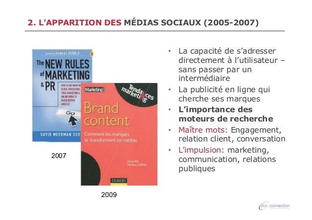 2. L'APPARITION DES MÉDIAS SOCIAUX (2005-2007) • La capacité de s'adresser directement à l'utilisateur – sans passer par ...