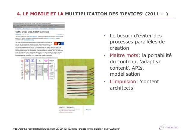 4. LE MOBILE ET LA MULTIPLICATION DES 'DEVICES' (2011 - )  • Le besoin d'éviter des processes parallèles de création • M...