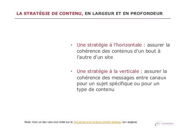 LA STRATÉGIE DE CONTENU, EN LARGEUR ET EN PROFONDEUR  • Une stratégie à l'horizontale : assurer la cohérence des contenus...