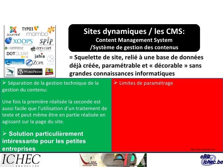 Sites dynamiques / les CMS: Content Management System /Système de gestion des contenus = Squelette de site, relié à une ba...