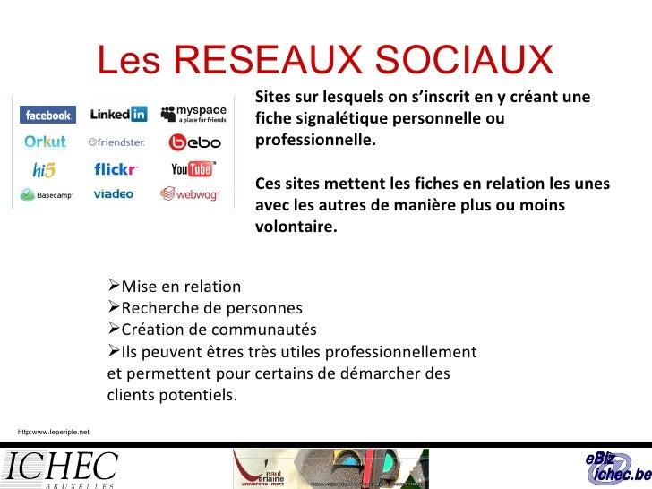 Les RESEAUX SOCIAUX Sites sur lesquels on s'inscrit en y créant une fiche signalétique personnelle ou professionnelle.  Ce...