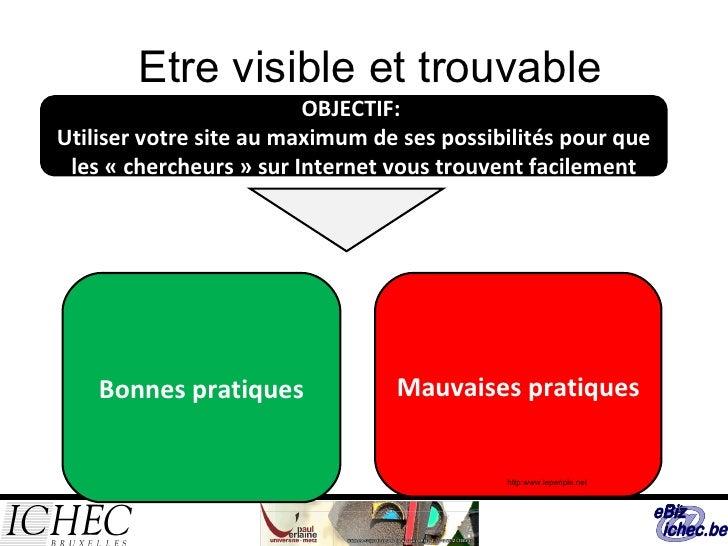 Etre visible et trouvable OBJECTIF:  Utiliser votre site au maximum de ses possibilités pour que les «chercheurs» sur In...