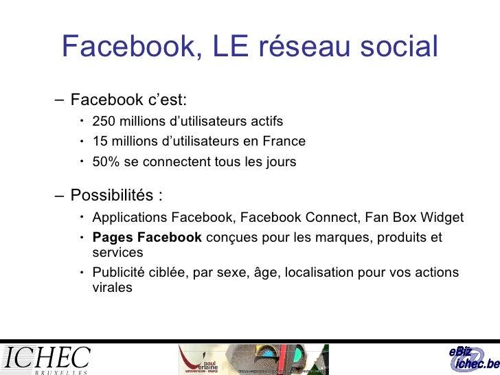 Facebook, LE réseau social <ul><ul><li>Facebook c'est: </li></ul></ul><ul><ul><ul><li>250 millions d'utilisateurs actifs  ...