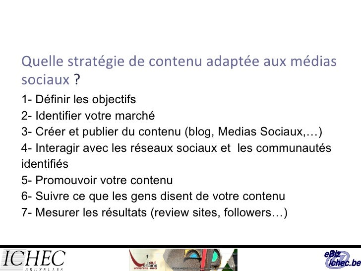 Quelle stratégie de contenu adaptée aux médias sociaux  ? 1- Définir les objectifs 2- Identifier votre marché 3- Créer et ...