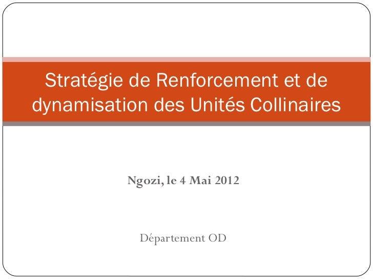 Stratégie de Renforcement et dedynamisation des Unités Collinaires          Ngozi, le 4 Mai 2012            Département OD