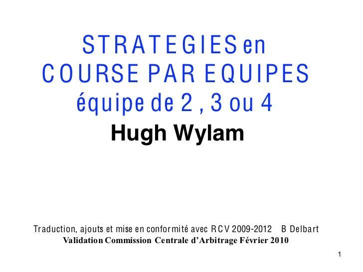 ST R A T E G I ES en  C O U RSE P A R E Q U IP ES      équipe de 2 , 3 ou 4                   Hugh WylamTraduction, ajouts...