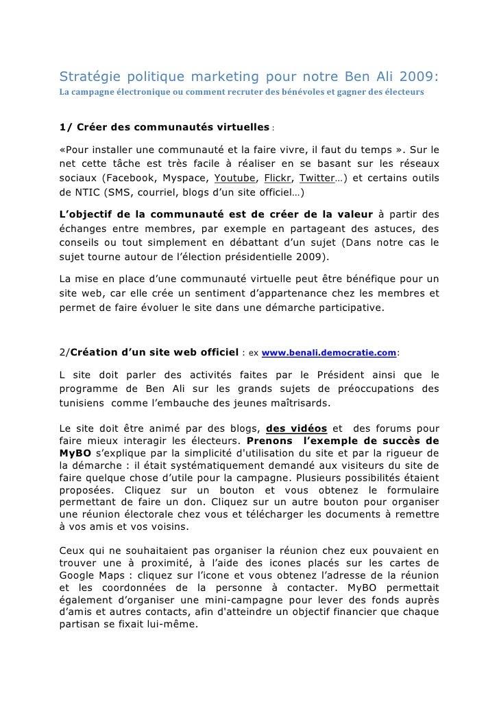 Stratégie politique marketing pour notre Ben Ali 2009: La campagne électronique ou comment recruter des bénévoles et gagne...