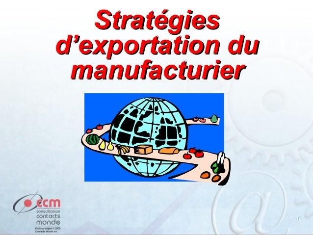 11 StratégiesStratégies d'exportation dud'exportation du manufacturiermanufacturier