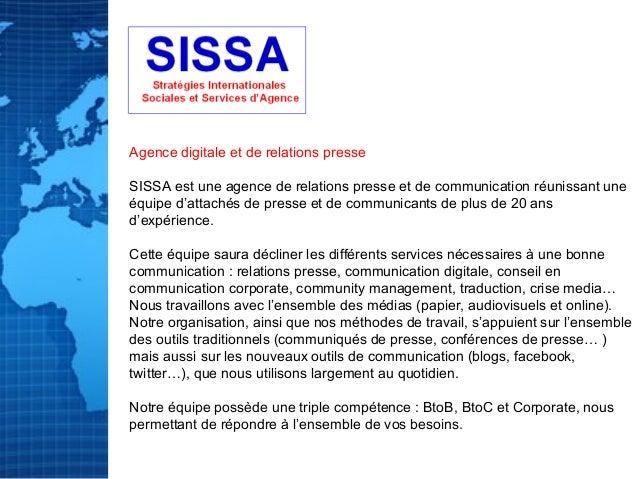 SISSA : Stratégies internationales, sociales et services d'agence digitale et de relations publiques Slide 2