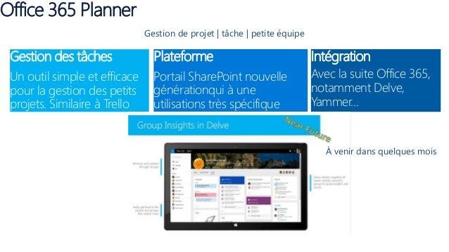 Office 365 Planner Gestion des tâches Un outil simple et efficace pour la gestion des petits projets. Similaire à Trello P...
