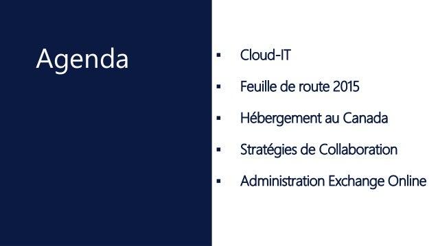  Cloud-IT  Feuille de route 2015  Hébergement au Canada  Stratégies de Collaboration  Administration Exchange Online ...