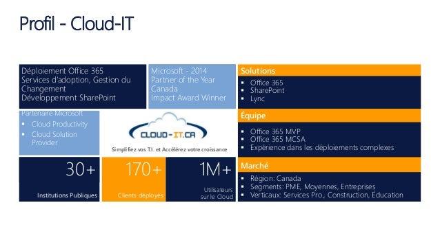 Microsoft - 2014 Partner of the Year Canada Impact Award Winner Solutions Partenaire Microsoft  Cloud Productivity  Clou...
