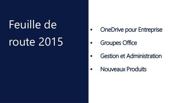  OneDrive pour Entreprise  Groupes Office  Gestion et Administration  Nouveaux Produits Feuille de route 2015
