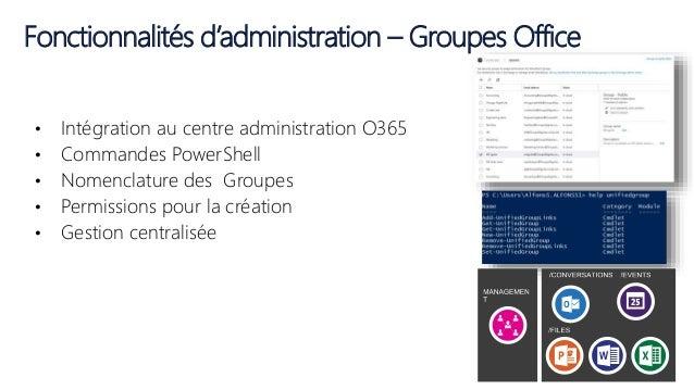 Fonctionnalités d'administration – Groupes Office • Intégration au centre administration O365 • Commandes PowerShell • Nom...