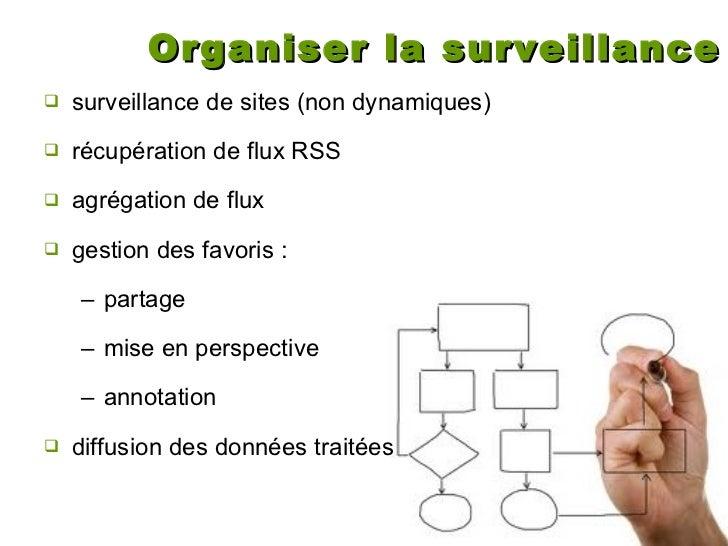 Organiser la surveillance <ul><li>surveillance de sites (non dynamiques) </li></ul><ul><li>récupération de flux RSS </li><...