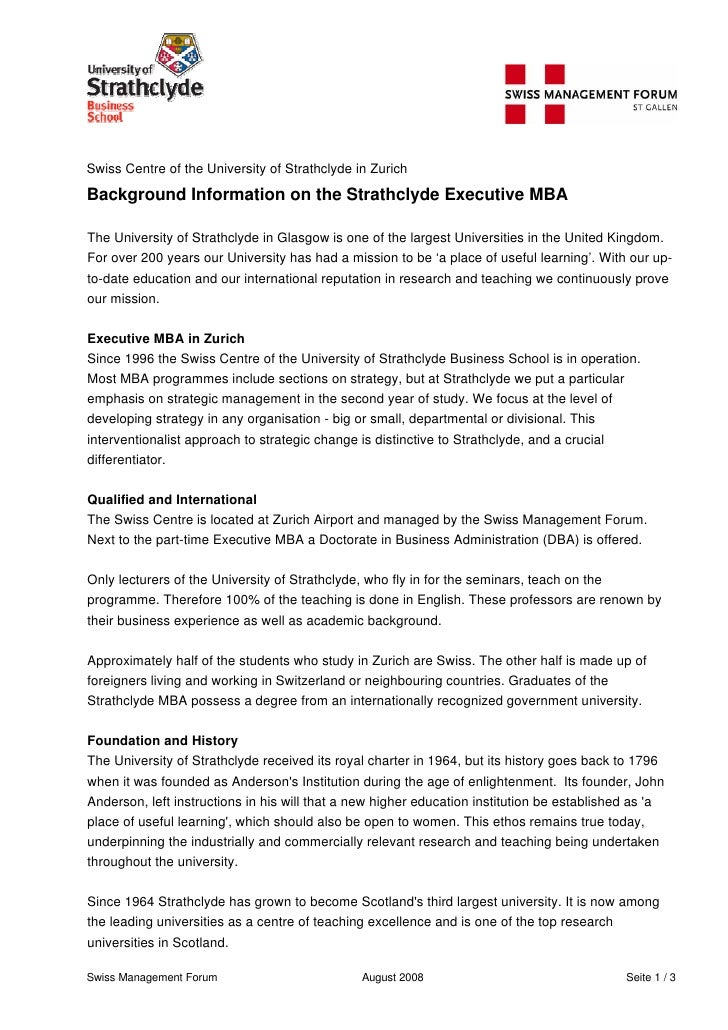 Swiss Centre of the University of Strathclyde in Zurich  Background Information on the Strathclyde Executive MBA  The Univ...