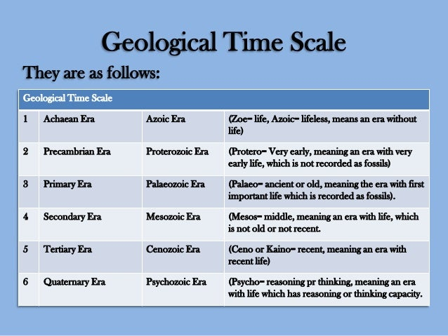 Geological Time Scale They are as follows: Geological Time Scale 1  Achaean Era  Azoic Era  (Zoe= life, Azoic= lifeless, m...