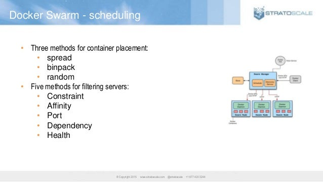 ® Copyright 2015 www.stratoscale.com @stratoscale +1 877 420 3244 Docker Swarm - scheduling • Three methods for container ...
