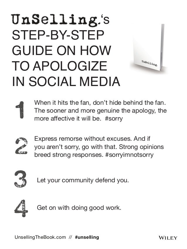 's  STEP-BY-STEP  GUIDE ON HOW  TO APOLOGIZE  IN SOCIAL MEDIA  When it hits the fan, don't hide behind the fan.  The soone...