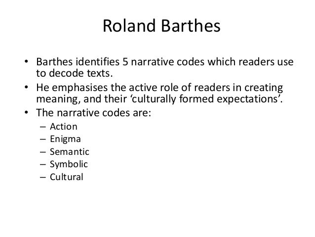 roland barthes five codes pdf