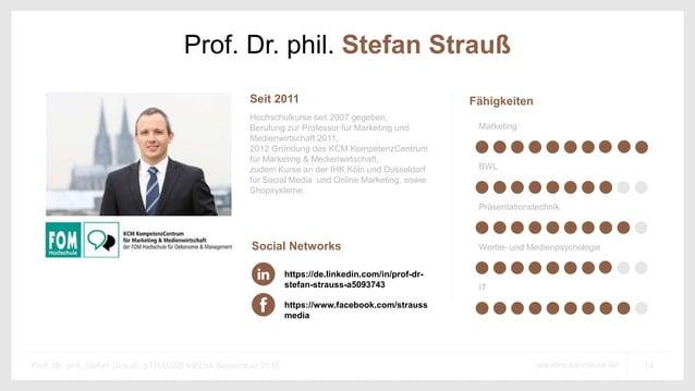 14ww.strauss-media.deProf. Dr. phil. Stefan Strauß, STRAUSS MEDIA September 2016 Prof. Dr. phil. Stefan Strauß Hochschulku...