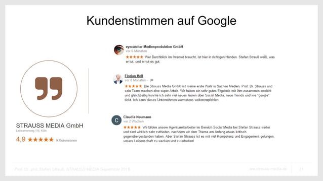21ww.strauss-media.deProf. Dr. phil. Stefan Strauß, STRAUSS MEDIA September 2016 Kundenstimmen auf Google