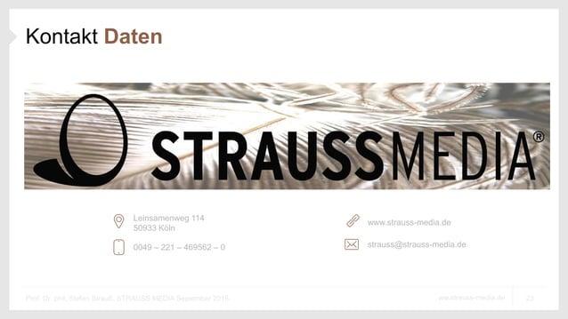23ww.strauss-media.deProf. Dr. phil. Stefan Strauß, STRAUSS MEDIA September 2016 Kontakt Daten 0049 – 221 – 469562 – 0 www...