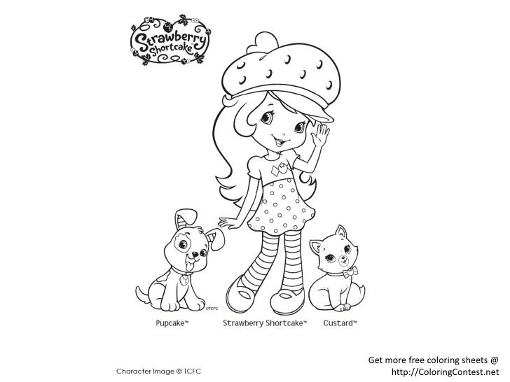 Cute Strawberry Shortcake Coloring Page - Free Strawberry ... | 546x728