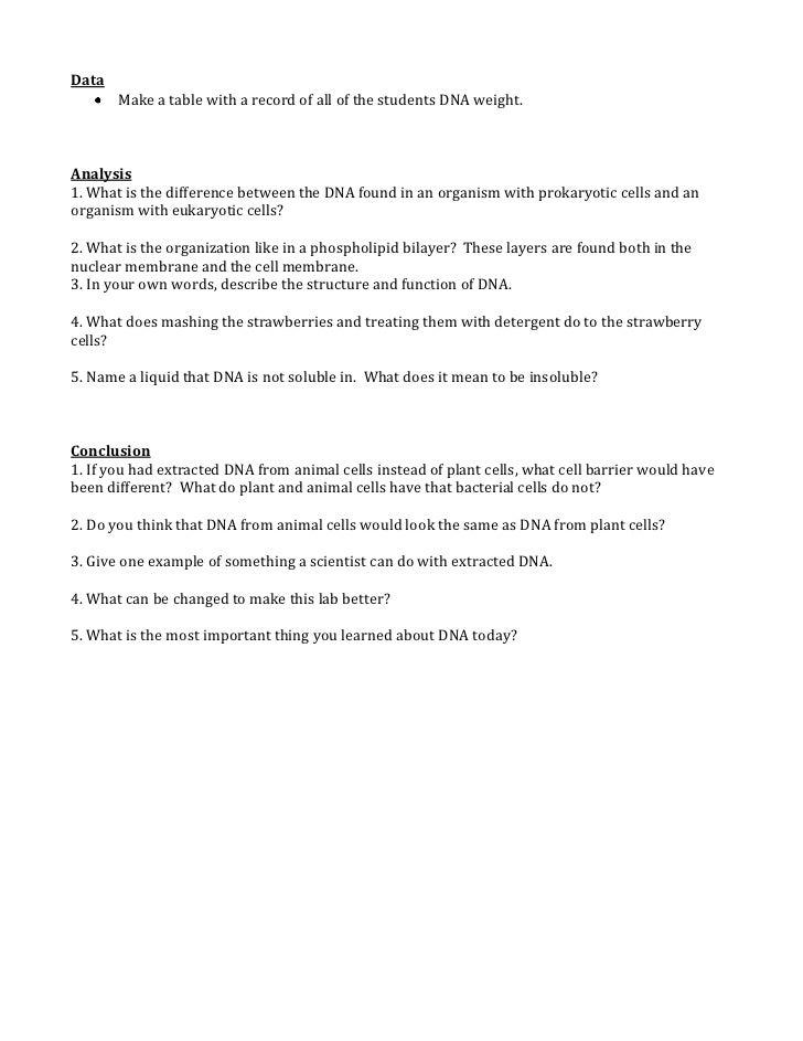Strawberry dna extraction table answers | Algebra 1 online