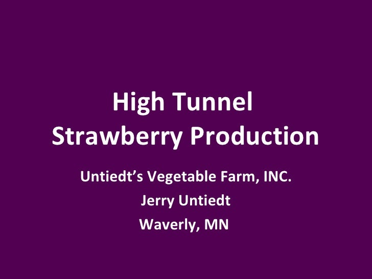 High TunnelStrawberry Production  Untiedt's Vegetable Farm, INC.           Jerry Untiedt          Waverly, MN
