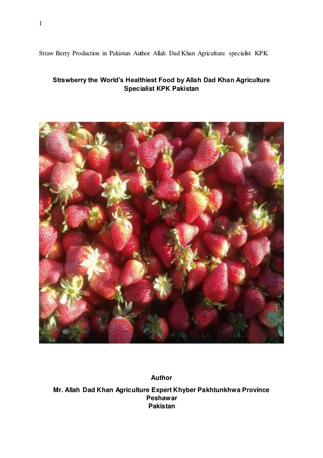 1 Straw Berry Production in Pakistan Author Allah Dad Khan Agriculture specialist KPK Strawberry the World's Healthiest Fo...