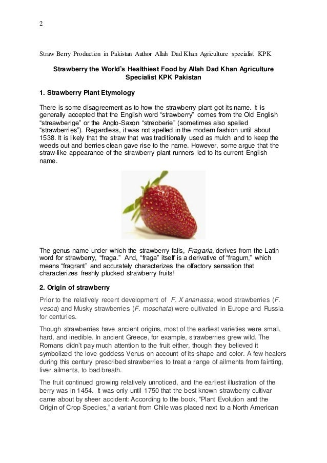 Strawberry production in world A Book Written by Mr Allah Dad Khan Ag…