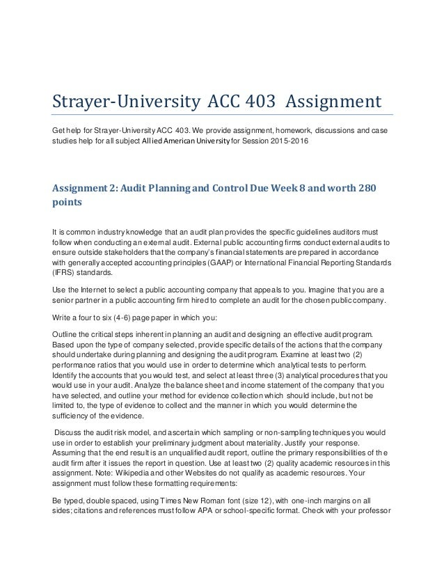 assignment 1 acc 403 Acc 403 week 4 assignment 1 auditors and regulatory oversight - find this pin and more on strayer by juki gas acc 403 week 4 assignment 1 auditors and regulatory oversight - 911homeworkhelp.