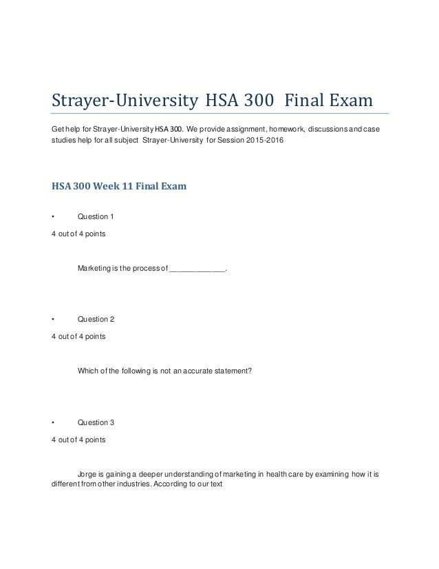 strayer university hsa 305 Here is the best resource for homework help with hsa 305 : health services marketing at strayer university find hsa305 study guides, notes, and practice.