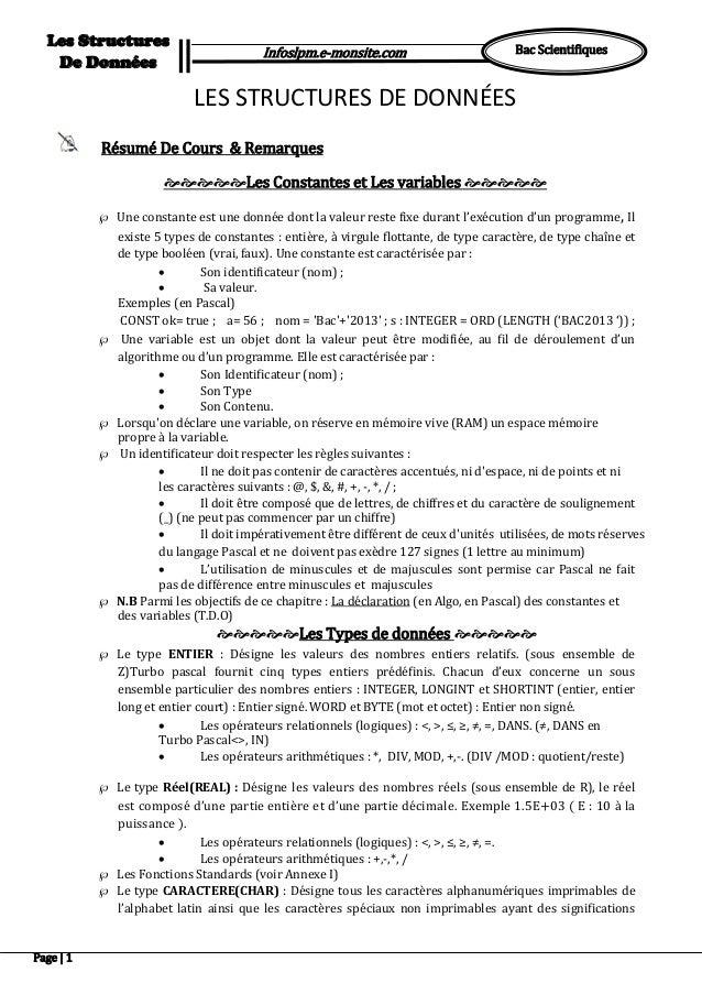 Page | 1 Bac Scientifiques Les Structures De Données Infoslpm.e-monsite.com Pour … Répéter … Tant que Pour … Répéter … Tan...