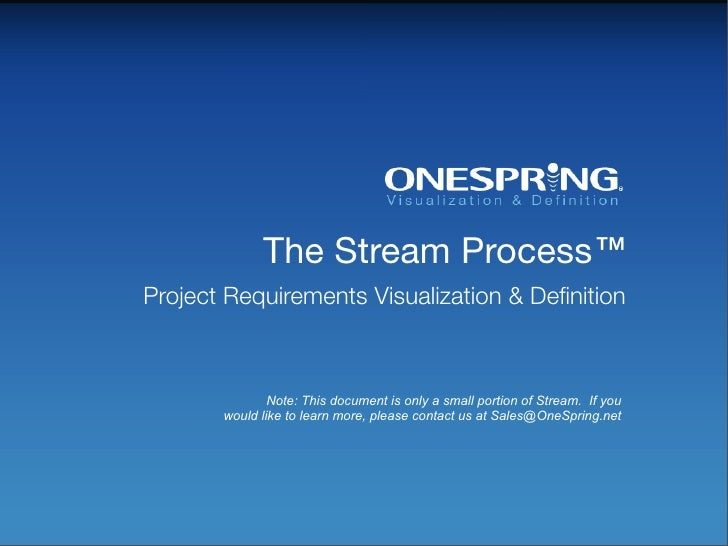 The Stream Process™ Project Requirements Visualization & Definition                   Note: This document is only a small p...