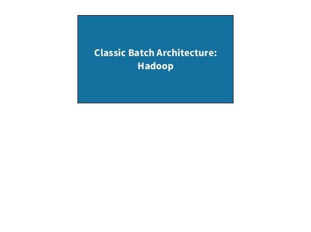 Classic Batch Architecture: Hadoop