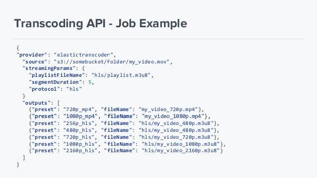 "Transcoding API - Preset Example ""providers"": [""elastictranscoder"", ""elementalconductor"", ""encodingcom"", ""zencoder""], ""pre..."