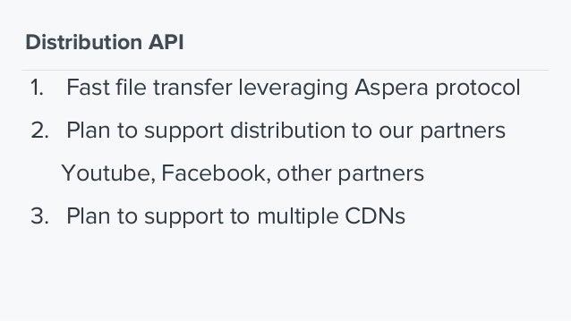 Just a recap! Distribution API Acquisition API Transcoding API Storage Media Factory Client Media Factory API CDN Database