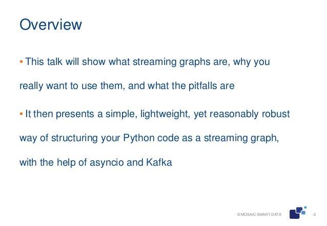 Streaming analytics with Python and Kafka Slide 2