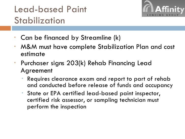 streamline 203k On lead based paint inspection cost